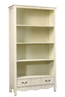 New Oak Open Bookcase, Weathered White, Drawer, French Bosquet Style