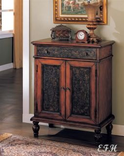 Traditional Distressed Cherry Bombe Hall Chest Console