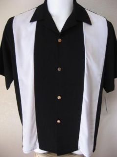 New 50s Rockabilly M Bowling Shirt 2Tone Retro Tattoo Black White