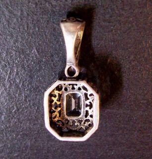 Bali Sterling Silver Necklace Aqua Marine Blue Topaz CZ Pendant