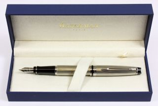 Waterman Expert Fountain Pen Stainless Steel Chrome Trims NEW