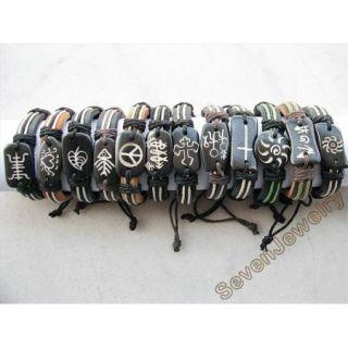 fashion jewelry 12 piece leather Bracelet ox bone stamp Bracelet