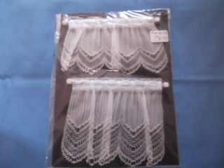 Sheer w Lace Blue Ribbon Cafe Curtain Wvalance Rod HW425B