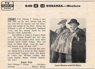 1965 TV Ad Bonanza Episode Ponderosa Birdman w Ed Wynn Lorne Greene