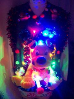 CHRISTMAS SWEATER VEST MENS L AMAZING LIGHTS NAUGHTY HORNY DOG BONER