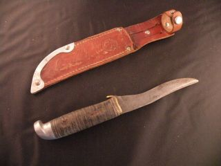 Vintage Western Boulder cold Bowie, hunting, fishing knife w/ leather