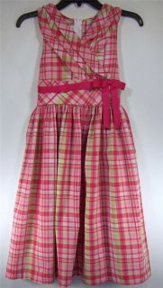 Bonnie Jean Girls Size 10 14 16 Fuchsia Plaid Crossover Dress