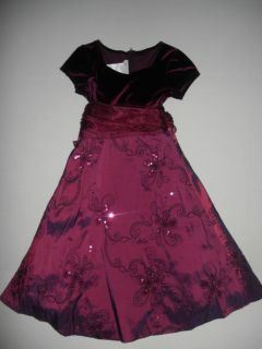 Bonnie Jean Girls Velvet Christmas Holiday Party Dress Sz 8 Must See