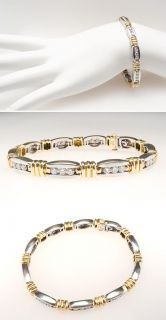 Genuine Diamond Tennis Bracelet Two Tone 18K Gold skucn7721