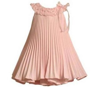 Bonnie Jean Toddler Girls Pink Pleated Linen Easter Spring Dress 4T