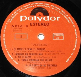 Aria 8 El Amor ES Como El Oxigeno Mexican LP The Sweet