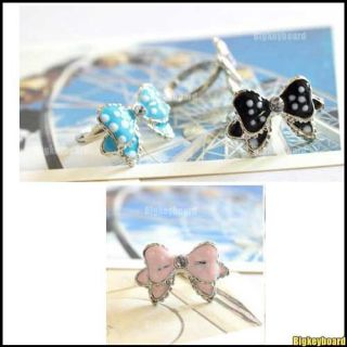 Korean Fashione Cute Bowtie Butterfly Dots Rhinestone Ring