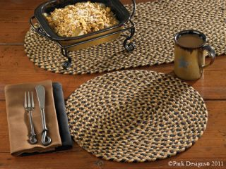 Placemat Park Designs Dining Placemat Braided Round Black Brown Tan