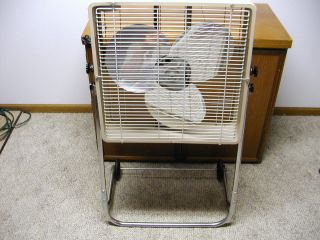 VINTAGE 2 SPEED BOX FAN ROLLING STAND COAST TO COAST STORES BY McGRAW