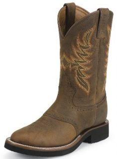 Mens Justin Stampede Techno Crepe Dark Brown Cowboy Boot Style 5074