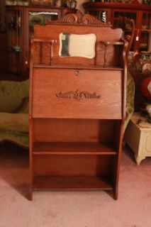 AMERICAN VICTORIAN OAK DROP FRONT SECRETARY DESK WITH BOOKSHELVES