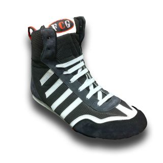 Black White Suede Synthetic Boxing Boots Kids Junior Childrens