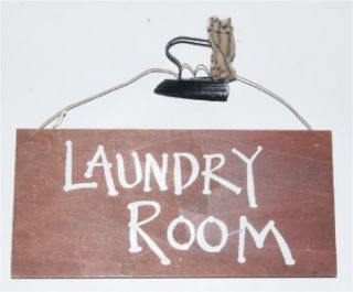 Laundry Room Ironing Bored Fun Reversible Wood Sign with Novelty Metal