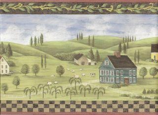 Landscape Wallpaper Border Houses on Hills Wall Border Red Trim