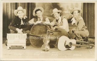 Ranch Boys Country Western Music Band w Bass Violin Accordion Antique