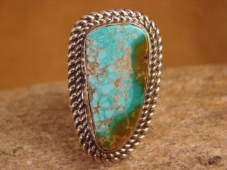 Navajo Indian Large Hand Stamped Sterling Silver Turquoise Ring Size 8