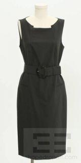 Boss Hugo Boss Black Wool Sleeveless Belted Shift Dress Size US 12 New