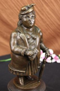 Stoic Abstract Woman by Botero Bronze Sculpture Statue