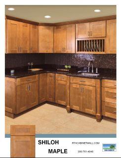 Shaker Style Kitchen Cabinets Shiloh Maple RTA Beautiful Honey Stained