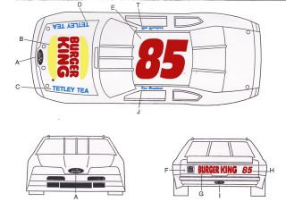 85 Ron Bouchard Burger King Ford 1 32nd Scale Slot Car Waterslide