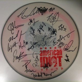 American Idiot BWay Green Day Cast Signed Drum Head
