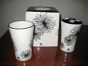 Famous 3 PC Bathroom Accessory Set Glass Tissue White Ceramic Retro