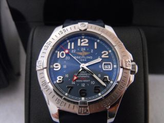 Breitling Mens Colt Aeromarine A32350 Ocean Automatic GMT 500M Rubber