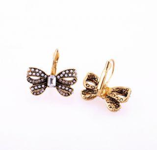 Retro Fashion Butterfly Bow Stud Earrings Sweet Vintage Earring