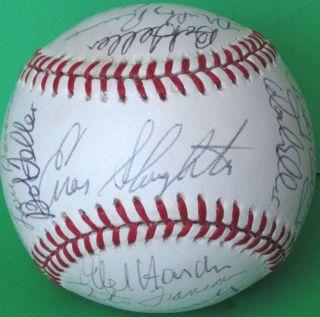 Bob Feller Lou Boudreau Signed Ball Baseball Signed Auto Autograph
