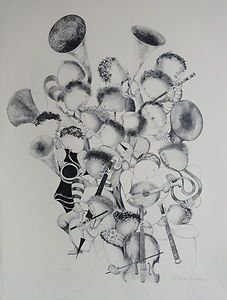 Rodo Boulanger  La Musique  Original Lithograph Art