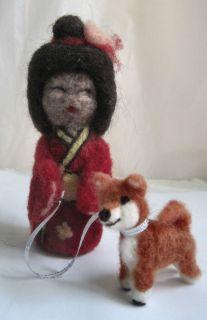 Needle Felted Japanese Kokeshi Doll 1 Shiba Inu Dog by Bren