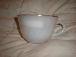 Vintage White Swirl Fire King Tea Cup Oven Ware Cup USA