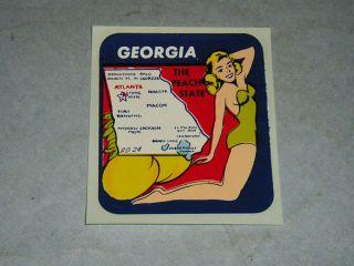 Vintage Georgia State Souvenir Travel Decal Sticker Pin Up Girl