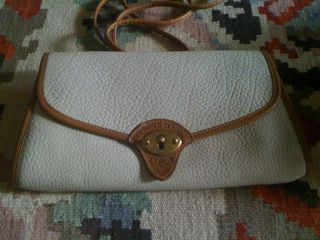 RARE D B Dooney Bourke Ivory Cream AWL All Weather Leather Clutch