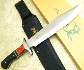 Elk Ridge Fixed Blade Bowie Hunting Knife Full Tang Wood Finger Groove