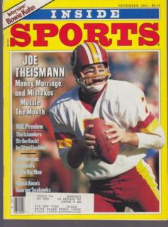 Vintage Inside Sports Magazine Joe Theismann Washington Redskins NFL