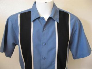 Rockabilly 4XL 4X Blue Black Panels Bowling Shirt 2Tone Rock & Roll