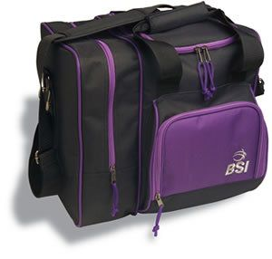 BSI Deluxe Single Bowling Ball Bag Black Purple