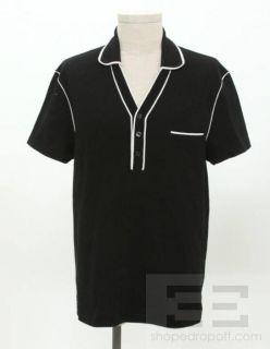 Mens Black White Cotton Short Sleeve Bowling Shirt Size XL
