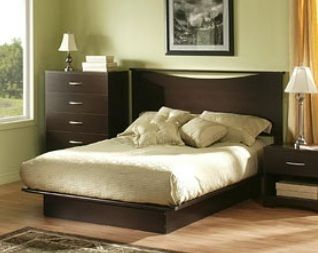 FULL SIZE Bed w Headboard NO BOX SPRING REQ Wood Platform Frame Wooden