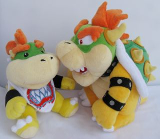 Set of 2 Super Mario Bros King Koopa Bowser Jr Plush Doll Toy