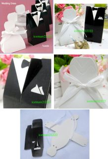 Dress and 50 Groom Tuxedo) Wedding Favor Boxes   WHOLESALE (w159