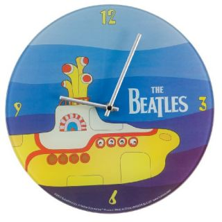 NEW Vandor 12 Inch Glass Wall Clock The Beatles Yellow Submarine