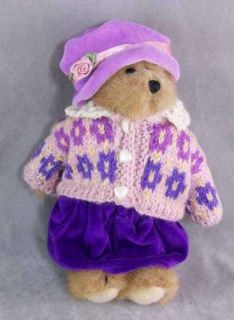 Boyds Bears Retired Honey Plush Bear Pink Purple Sweatr