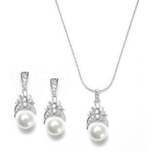 New Mariell Pearl and CZ Wedding Bridal Jewelry Set
